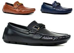 STYLISH LOAFER-New Men Perforated Front Design Formal Slip On Shoes UK Size 6-11