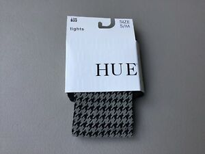 NWT Women's Hue Houndstooth Tights w/ Control Top Size S/M Black w/ Grey #774G