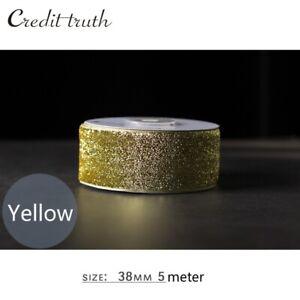 """Sequin Velvet Ribbon Trim Velour Webbing Floral Craft Gift Decor 1.5""""X5m Costume"""