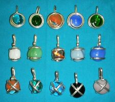 WHOLESALE CLEARANCE-15 HAND WRAPPED ALPACA SILVER GLASS CAT EYE SLIDES PENDANT-S