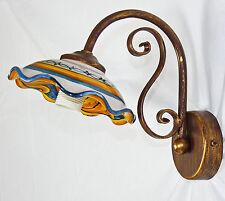 Applique led per cucina ferro battuto ceramica decorata a mano rustico art.642