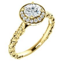 1.15 Carat Diamond Solitaire Floral Designer Style Halo Ring in 14k Gold