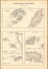 1874 ca LARGE ANTIQUE MAP- BARTHOLOMEW - CHANNEL, SCILLY ISLANDS, ISLE OF MAN