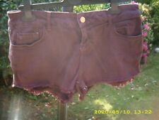LADIES BURGUNDY TOP SHOP  MOTO  HOT PANTS SHORTS 💗 SIZE 12