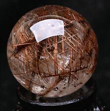 46mm  Natural Titanium Hair Rutilated Crystal Ball SPHERE Quartz Specimen