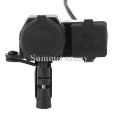 5V 4.2A 2 USB Phone 12V Motorcycle Handlebar Handle Bar Clamp Charger Power Port