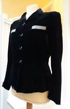 Original 1940's 50's navy silk velvet jacket with blue, white check detail 10/12
