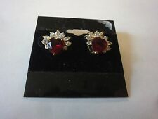 RUBY HEART FASHION GOLD EARRINGS WITH CUBIC ZIRCONIA STONES (CZE-120)