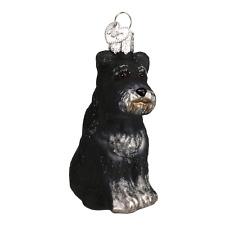OLD WORLD CHRISTMAS BLACK SCHNAUZER DOG GLASS CHRISTMAS ORNAMENT 12264