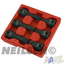"6 Piece 1/2"" Drive Impact Spline Bit Socket Tool Set 12 Point M14 M16 M18"
