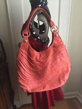 Elliott Lucca Handbag Boho Coral Leather Hobo Bag Purse Shoulder bag