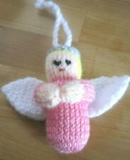 HAND KNITTED PINK ANGEL TREE  DECORATION. 4 INCHES TALL.