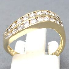 """STUNNING 9CT YELLOW GOLD CUBIC ZIRCON *DOUBLE WAVE* DRESS RING  SIZE """"L"""" 1456"""