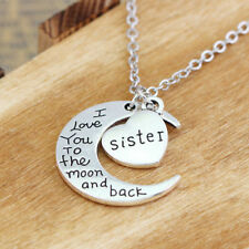Necklace Pendant Sister I Love You To The Moon And Back Heart Family BFF Gifts