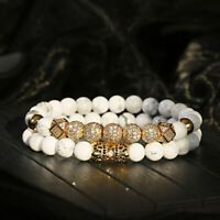 Luxury Micro Pave CZ Ball Crown Red Agate Elastic Bracelet Jewelry For Women Men