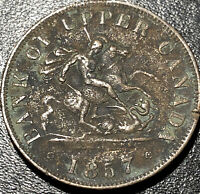 1857 Bank of Upper Canada 1/2 Half Penny Bank Token Canadian Coin