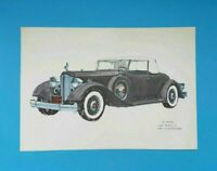 """1934 PACKARD V-12 Convertible Coupe Roadster Black Car Print BY R. McKEE 13""""x9"""""""