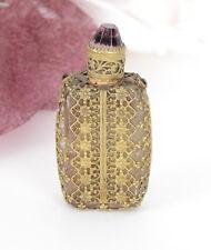 Antik Flacon Parfümflasche Messing Korken am Verschluß