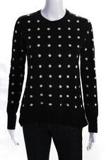 Equipment Femme Womens Polka Dot Crew Neck Sweater Black White Size Small