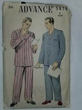Pajamas Sewing Pattern Size C 42 44 ADVANCE 5878 UNCHECKED CUT Mens Top Bottoms