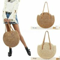 ❤ Summer Women Beach Straw Woven Rattan Holiday Shoulder Bag Purse Round Handbag