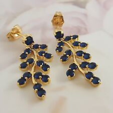 18K Gold Filled Italian Burmese Sapphire 18ct GF Dangle Drop Earrings 35mm