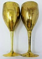 """2 Vintage Brass Goblets 7"""""""
