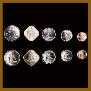 Bahamas 1 5 10 15 25 Cents (5 Pcs Coin Set), 2005/10/15 Sea Star Fish Sailboat
