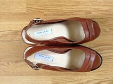 NWOB WOMENS NEW LOOK PREMIUM LEATHER SHOES PLATFORMS TAN UK8 EU42 RRP £54.99!