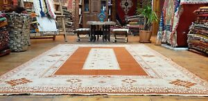 Beautiful Antique Cr1930-1949s Muted Natural Dye Wool Pile Oushak Area Rug 6x8ft