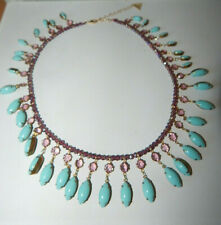 NECKLACE BEADS RHINESTONES TURQUOISE PURPLE ANTHROPOLOGIE STATEMENT NEW $68