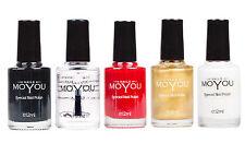 Moyou 5 smalti Stamping Nero, Top Coat, Rosso, Oro, Bianco