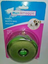 NEW IN PACKAGE GREEN FABRIC DOG WASTE POOP BAG HOLDER AND BELT CLIP 20 BAGS