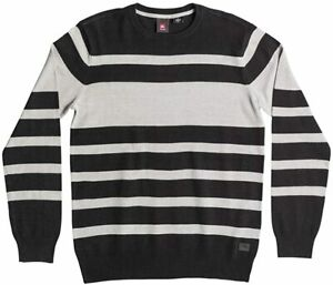 NWT - QUIKSILVER Men's 'WILLIAM' Black / Gray KNITTED PULLOVER SWEATER - L