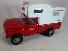 Vintage 1960s red Tonka pickup truck and camper top