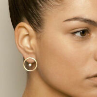 Fashion Women Zircon Crystal Rhinestone CZ Gold Circle Ear Stud Earrings Jewelry
