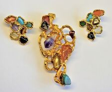 & earrings Mod Free Form Retro vintage genuine stone Nugget gold plated Pin