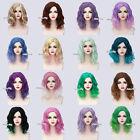 Fashion 35cm Women Short Curly Medium Wig &Wig Net Cosplay Party Prop Halloween