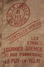 Vintage Lentil bag w/ red printing French Puy Hessian BURLAP Agricultural sack