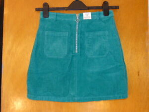 M&S Cord Skirt 100%Cotton Adj.Waist A-Line Style 13-14y 158cm Green BNWT
