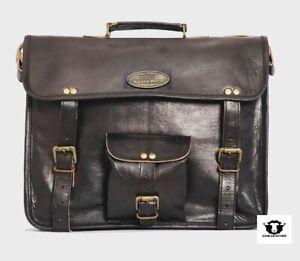 Men Business Laptop Bag Attache Messenger Portfolio Bags Black Waxed 18 INCH Bag
