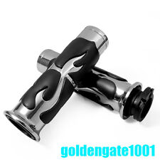 1'' Chrome Motorcycle Bike Handlebar Hand Grips Flame Fire Style For Harley GG