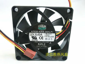 1PC Cooler Master A7020-43RB-3AN-PI DC12V 0.43A 7CM three-wire cooling fan