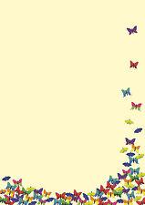 Motivpapier Briefpapier viele bunte Schmetterlinge 50 Bl. A4 Frühling butterfly