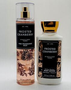 Bath & Body Works FROSTED CRANBERRY Fine Fragrance Mist & Body Lotion Set 8 oz