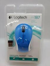 Blue Logitech M187 Wireless 3-Button Scroll Mouse --New