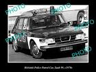 OLD LARGE HISTORIC PHOTO OF HELSINKI POLICE DEPARTMENT PATROL CAR, SAAB c1970s