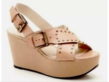 New❤️Clarks❤️UK 6 E Trophy Crown Blush  Beige Nude Leather Wedge Sandals 39.5EU