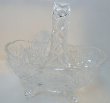 Pretty Little Pressed Glass Basket Pottery, Porcelain & Glass Art Glass