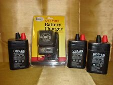 3PK UPG 6VOLT 5AH RECHARGEABLE SEALED 6V 5AMP BATTERY & AC CHARGER W LED LIGHTS